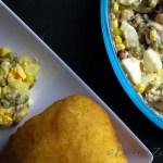 Aardappelsalade met kappertjes en spek