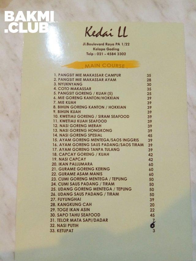 Menu Mie Pangsit Makassar Kedai LL