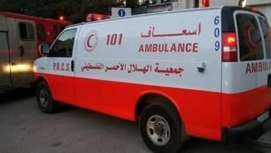 صورة إصابة امرأة حامل ورجل إسعاف خلال اقتحام الاحتلال محيط مجمع فلسطين الطبي