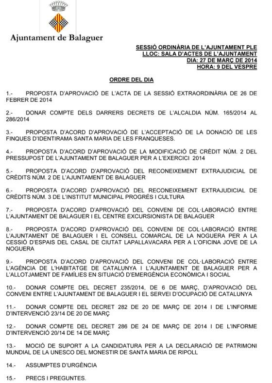Ordre del Dia del Ple de Balaguer del 27 de març del 2014