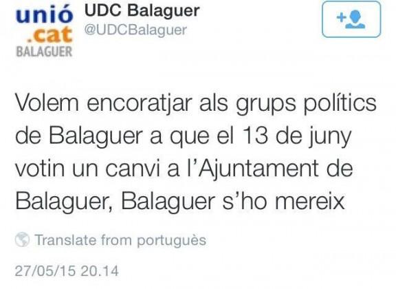 Tweet  d'UDC a Balaguer publicat a Nació Digital. A hores d'ara ja ha estat esborrat