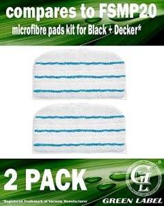 Lot de 2. Lingettes microfibres de rechange pour les balais vapeur Black+Decker (alternative à FSMP20). Produit authentique de Green Label