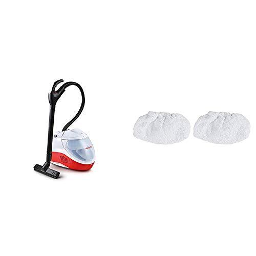 Polti PVEU0083 Vaporetto Lecoaspira FAV50 Multifloor Nettoyeur Vapeur et Aspirateur avec Filtre à Eau, 5 Bar, 1350 W, Rouge/Blanc & Polti PAEU0318 – Kit de 2 housses