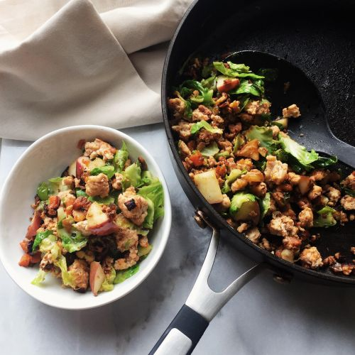 Ground Turkey Brussels Sprout Stir-Fry