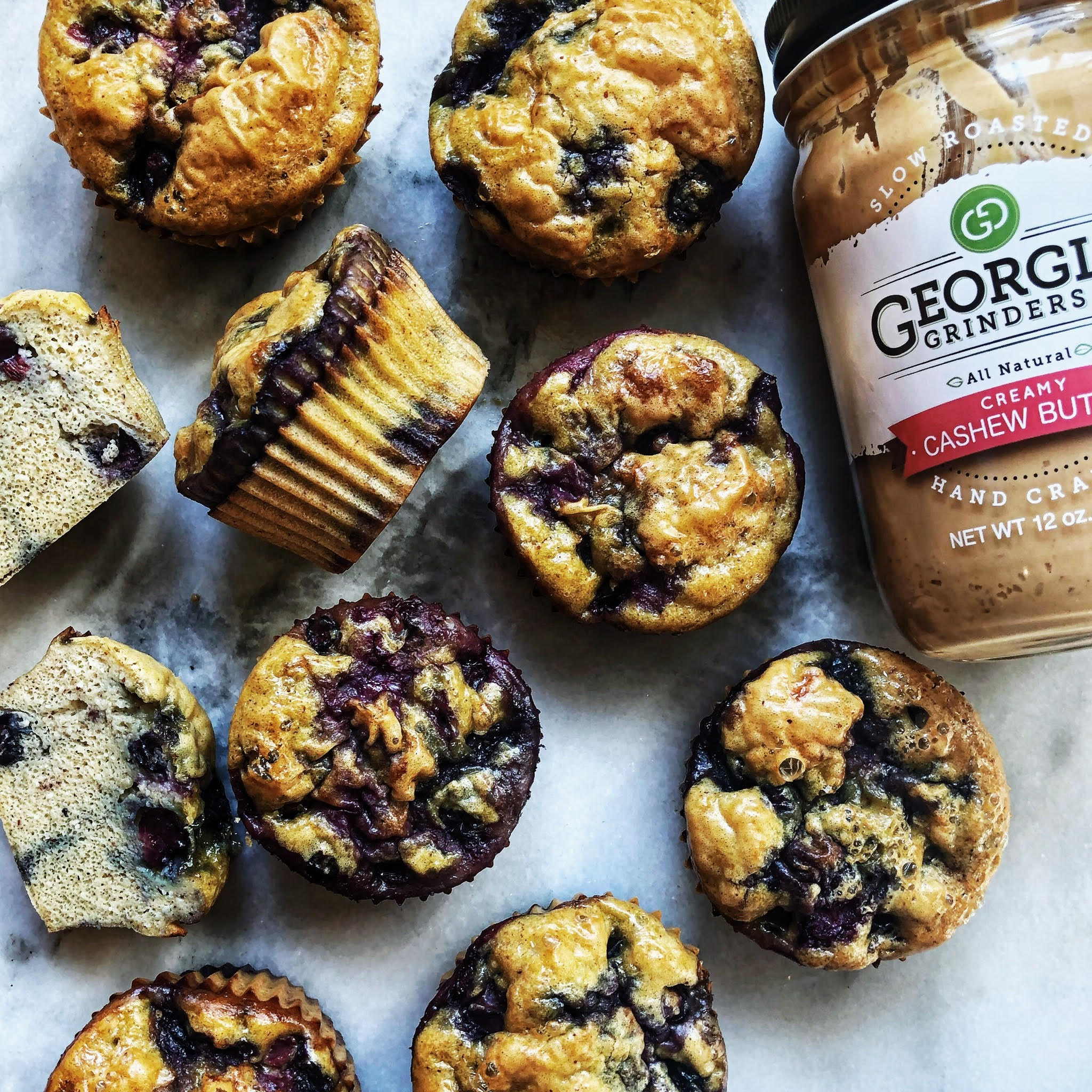 Gluten and Dairy Free Cashew Butter Blueberry Muffins