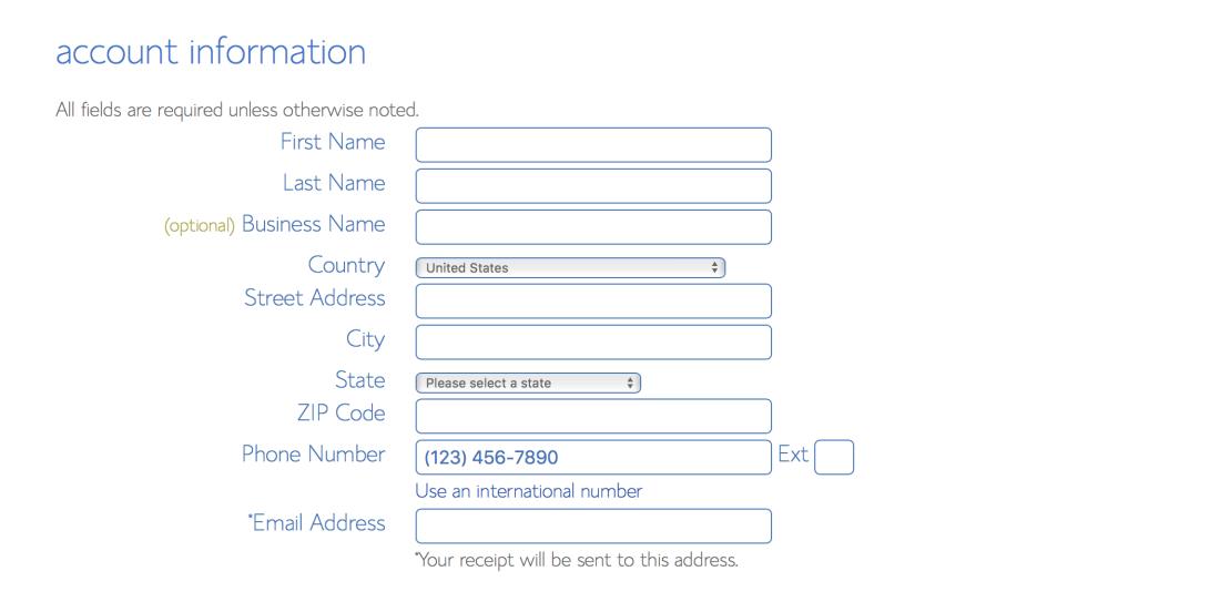 Blushost account information