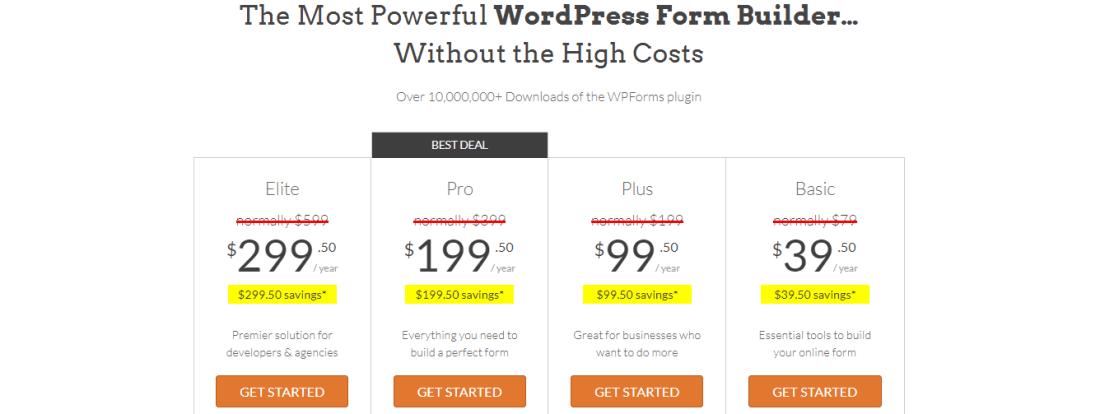 WPforms Premium Plan