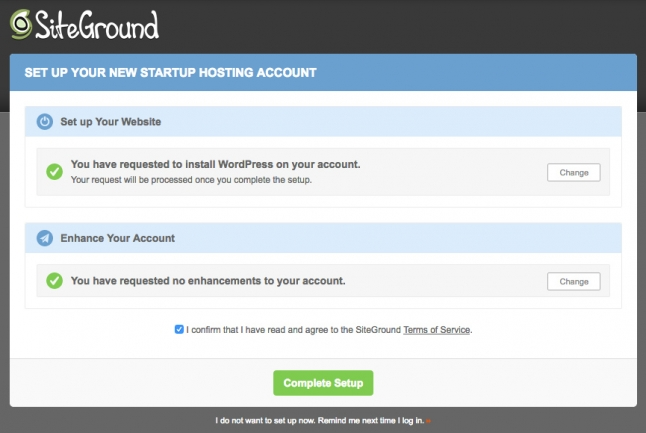 set up hosting account