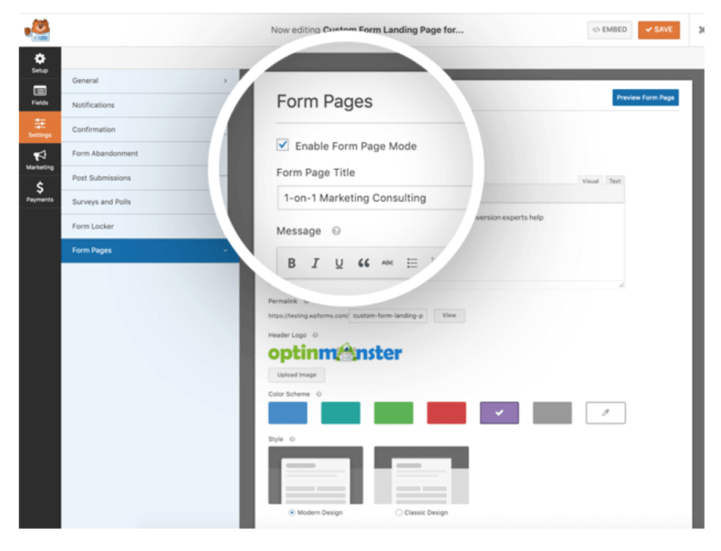 WPForms Form pages settings