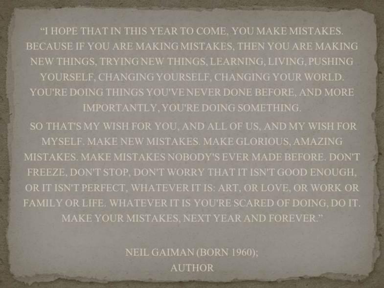 Mistakes, new beginnings