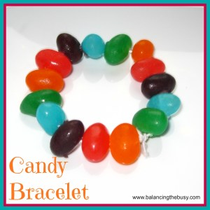 Candy Bracelet-  it would be easier for kids to do this with colored marshmallows (from www.balancingthebusy,com)