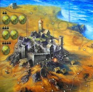 """Dettaglio del Castello, con relativi """"Scudi"""" descritti nel testo."""