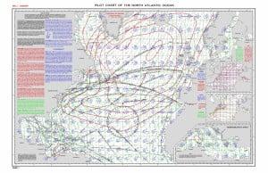 Pilot Charth del Nord Atlantico e Mediterraneo (JAN). Utilizzata per determinare le rotte di minimo tempo in base a statistiche meteo.
