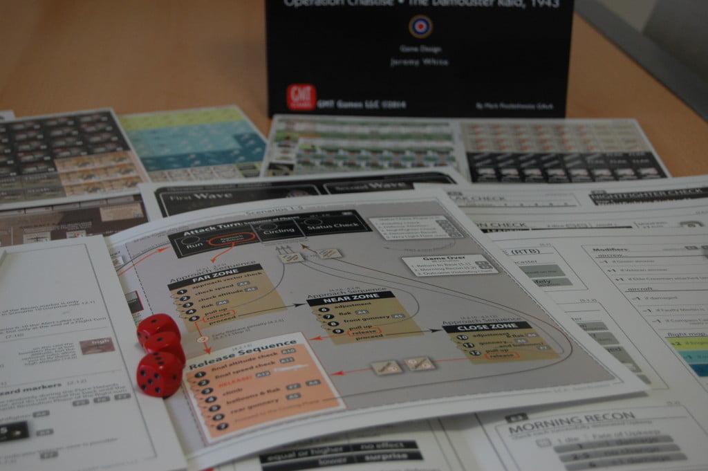 Nonostante la grafica moderna e funzionale, l'unboxing mostra l'impianto classico del wargame in solitario: dadi pedine e tabelle