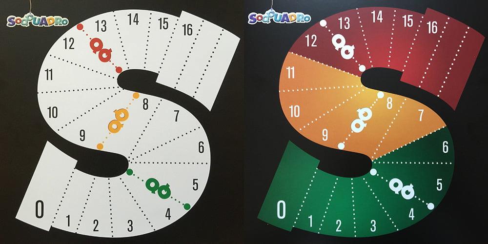 I due lati della plancia segnapunti: versione tranquilla (a sinistra) ed estrema (a destra).