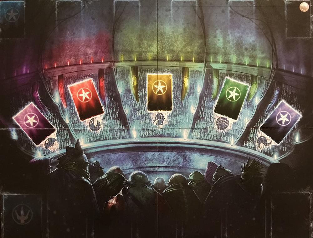 Il tabellone di gioco con le 3 aree corrispondenti alle 3 azioni principali.