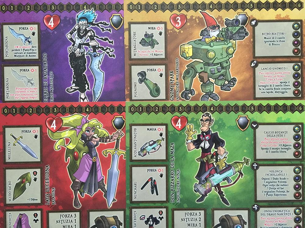 Le schede personaggio di 4 dei 6 eroi giocabili.