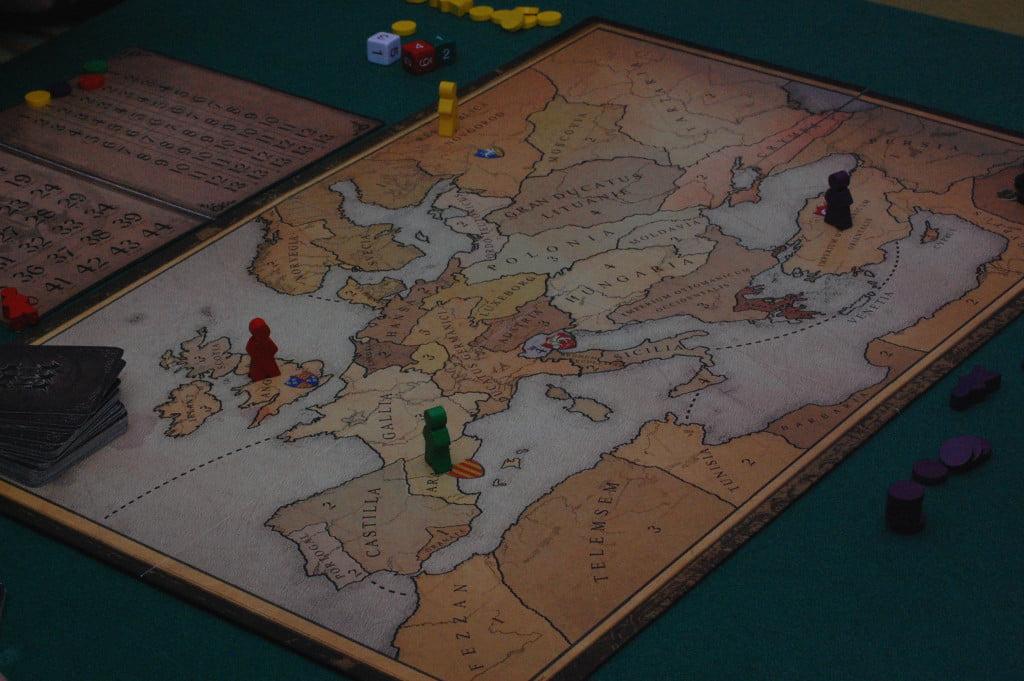 """Setup a 4 giocatori: il gioco ci impone di non utilizzare """"Venezia"""" che si trova, più o meno al centro della mappa."""