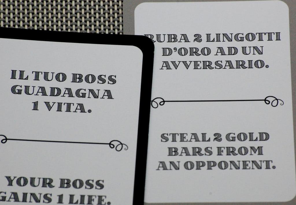 """Carte """"Boss"""" (sx) e """"Picciotto"""" (dx): peccato che non ci siano illustrazioni!"""