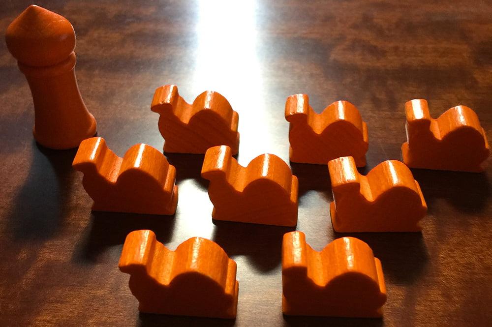 La dotazione iniziale del giocatore arancione