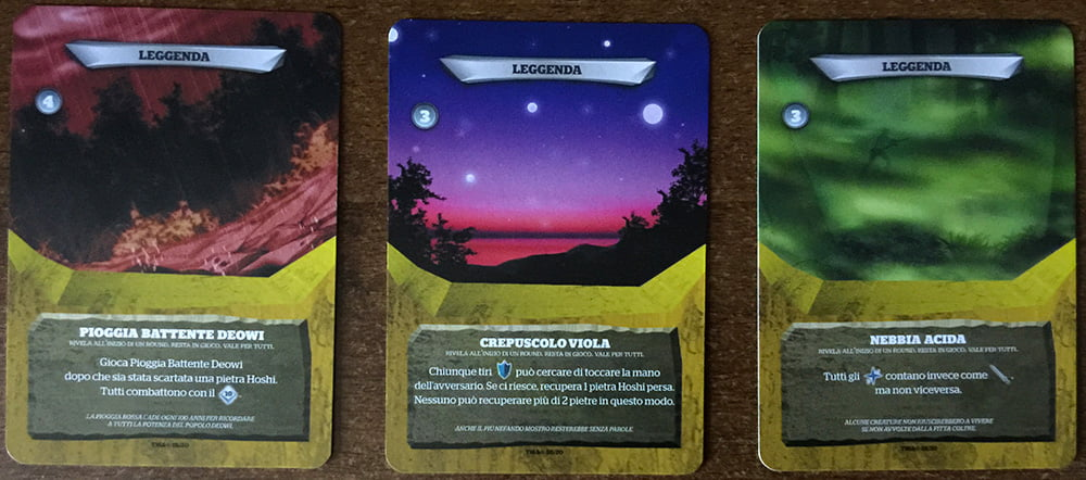 Le leggende, carte duello che alterano le condizioni della battaglia per entrambi i giocatori.