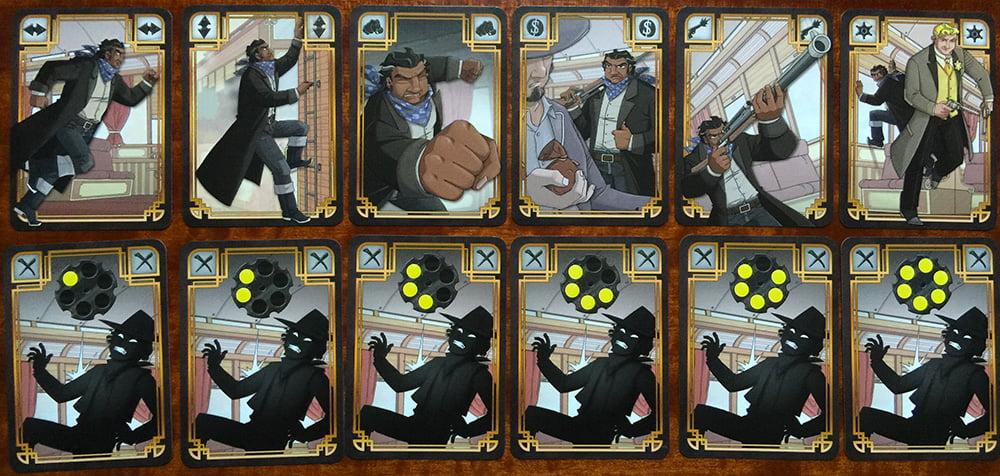 Alcune carte del mazzo con la cornice nera del bandito Django: la riga in alto mostra le 6 azioni possibili, quella in basso i 6 colpi della sua Colt.