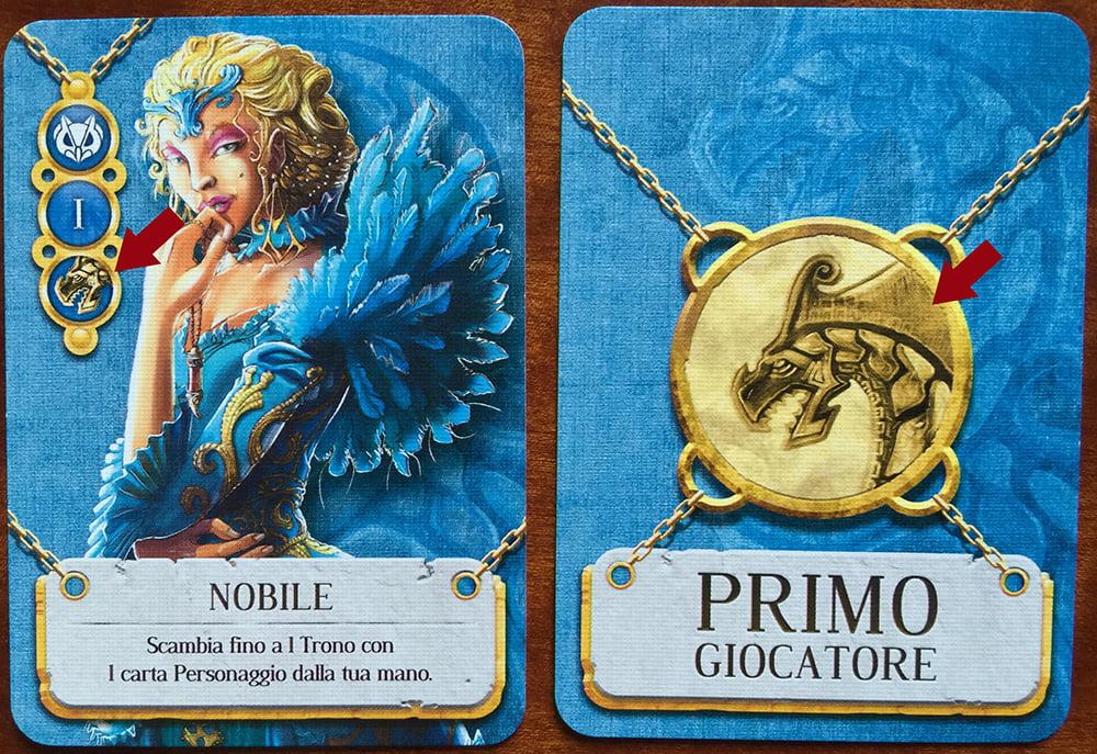 La piccola icona presente sulle carte personaggio dei Nobili richiama quella raffigurata al centro della carta Primo Giocatore: infatti, giocando il Nobile si acquisisce anche questo privilegio.