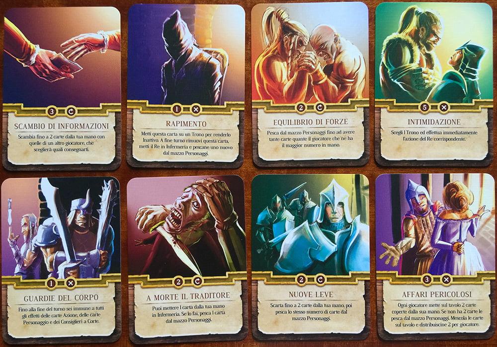 Esempi di carte azione: sono tante e hanno molteplici effetti, quasi tutti ad altissima interazione.