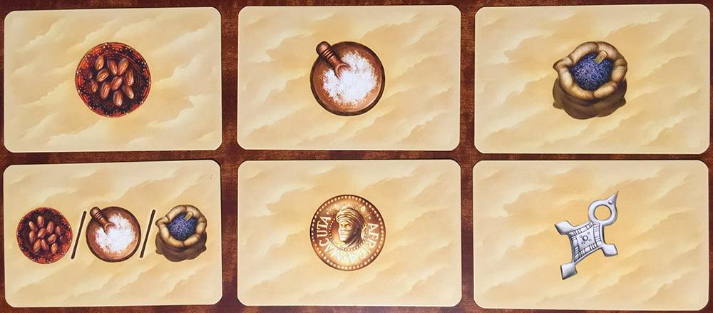 Le 6 famiglie di carte che permettono di raccogliere merci e risorse durante la partita.