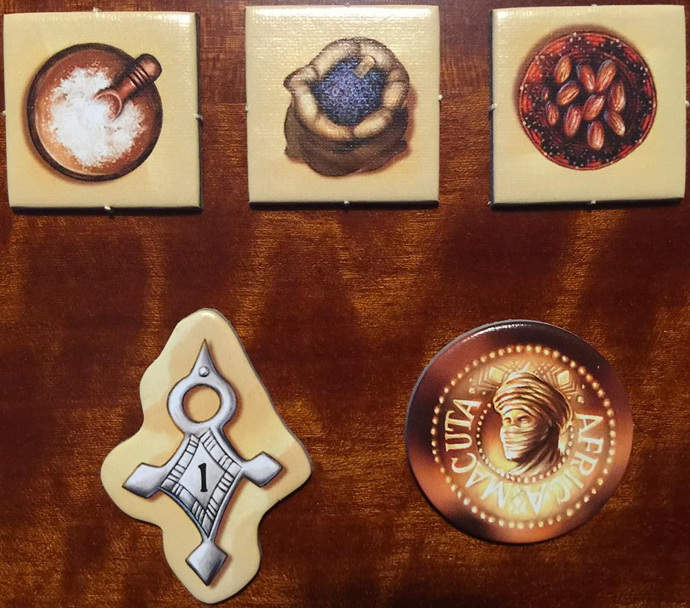 Le 5 diverse tipologie di token che dovremo maneggiare durante la partita.