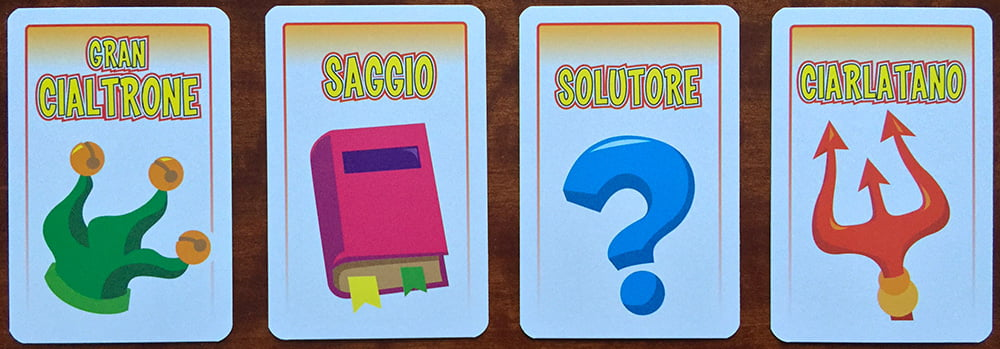 I 4 diversi ruoli che possono capitare a ogni giocatore: attenzione, perché il solo Solutore sarà noto a tutti, mentre gli altri rimarranno segreti.