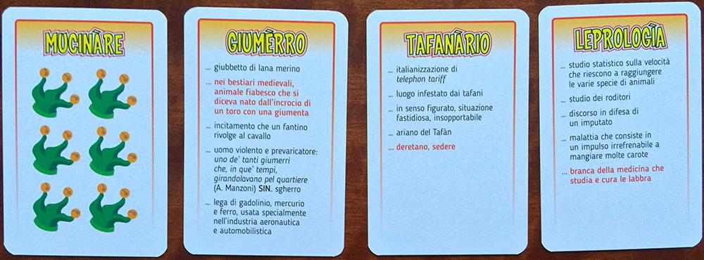 Quattro esempi di carte-parola: