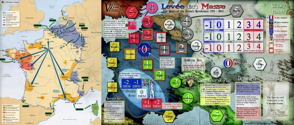 A sinistra la mappa con situazione storica della Francia Rivoluzionaria attaccata da tutte le parti. A destra la mappa del gioco che vuole ricreare tale situazione.