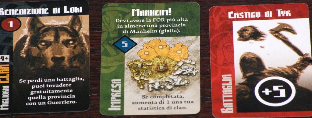 I tre tipi di carte: quasi tutte hanno un'abilità speciale.