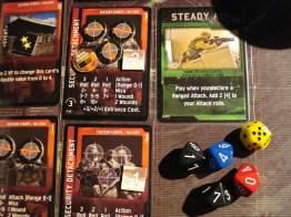La prima granata, grazie al prudente uso della carta Steady Aim, elimina il primo gruppo...