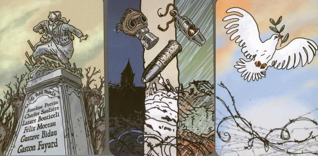 """Sconfitta e vittoria: la simbologia evita qualsiasi riferimento alla guerra e alle armi. Anche le 6 """"insidie della guerra"""" (raffigurate nella carta centrale) non enfatizzano violenza ed armamenti."""