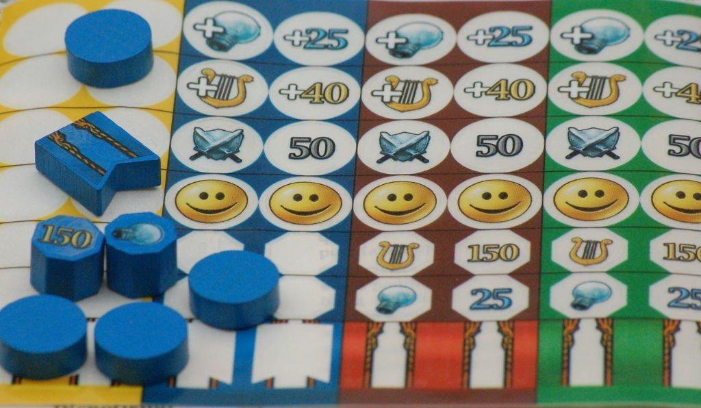 Il primo indizio che ci troviamo in presenza di un gioco sofisticato (e ben curato) sono gli adesivi trasparenti che servono a marcare su entrambi i lati ciascun dei 7 indicatori delle 4 razze