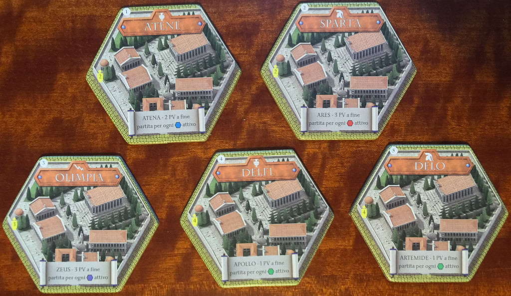 Le 5 diverse Acropoli incluse nel gioco: