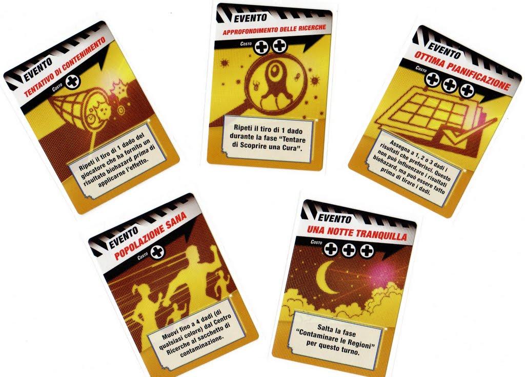 Alcune delle Carte Evento inserite nel gioco.