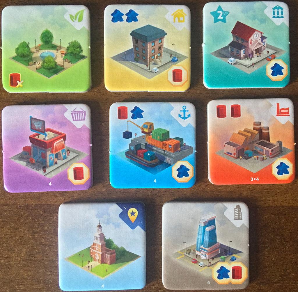 Le 8 diverse tipologie di edificio costruibili: le 2 più in basso sono quelle che entrano in gioco soltanto nella modalità avanzata.