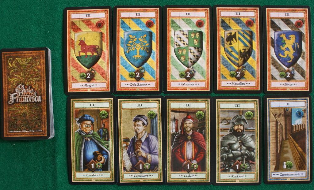 Alcune carte con gli scudi nobiliari e Giovanni Malatesta. Sulla sinistra la carta riassuntiva delle azioni del turno