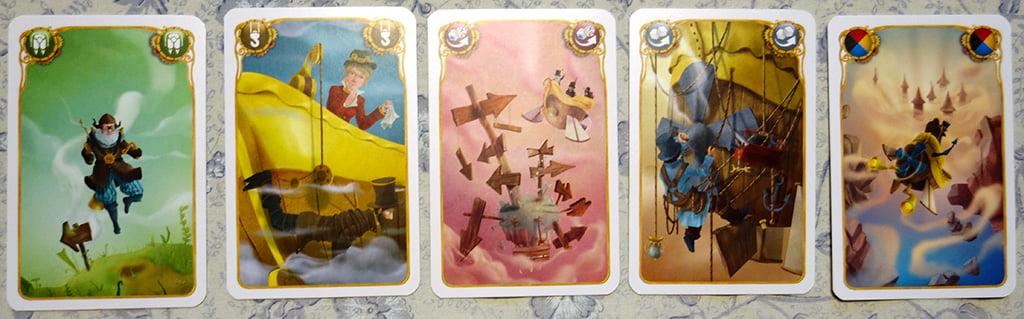 Le 5 carte speciali: da sinistra verso destra, il jetpack,