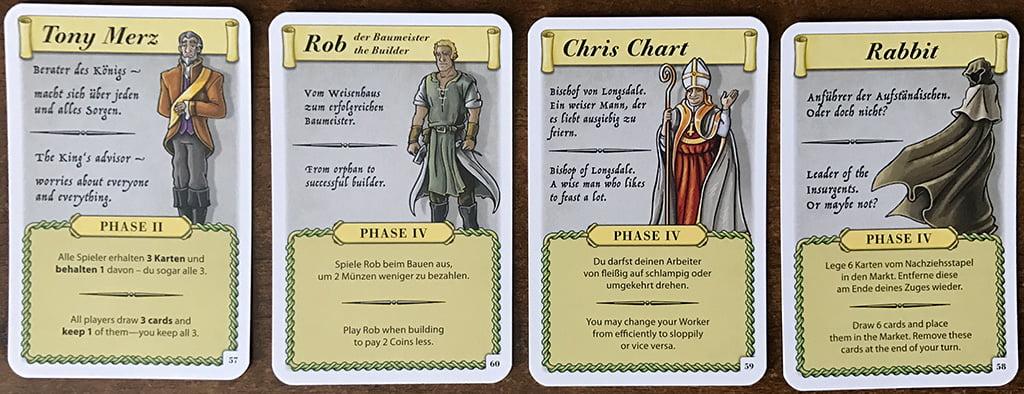 """Quattro personaggi in cerca di autore... Entrano in gioco solo in seguito a certi eventi e attivano funzioni speciali """"usa-e-getta""""."""