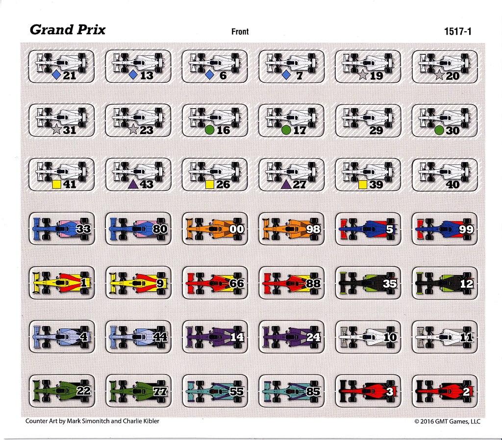 Tutte le auto del gioco: in alto quelle neutrali ed in basso quelle degli 11 teams. Notare che molte auto neutrali hanno un ulteriore simbolo colorato