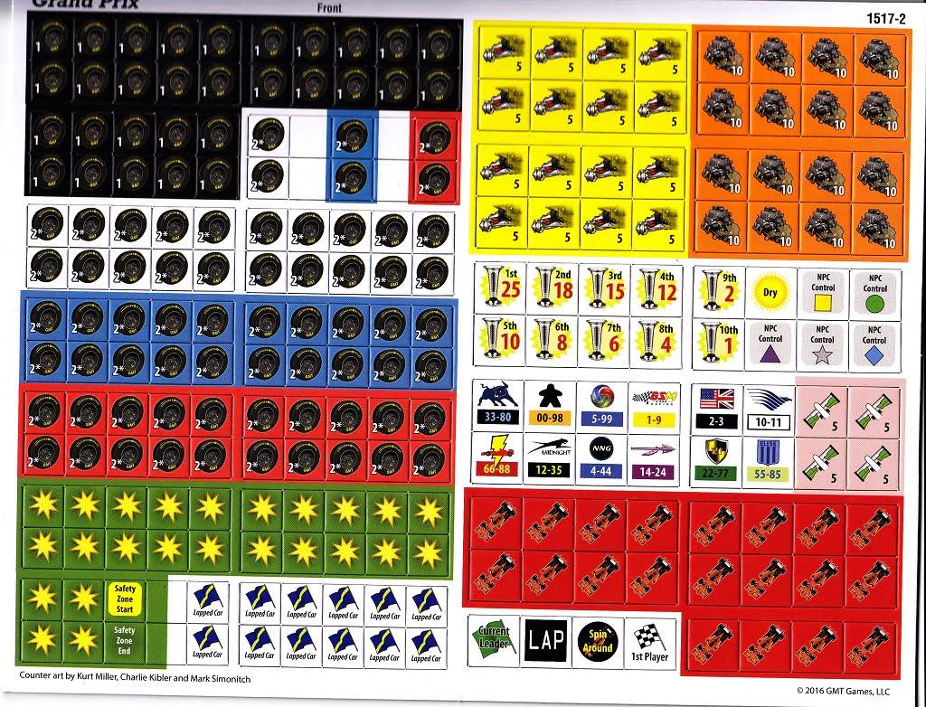 I segnalini che si useranno nel gioco per indicare il tipo di gomme montato o le penalità.