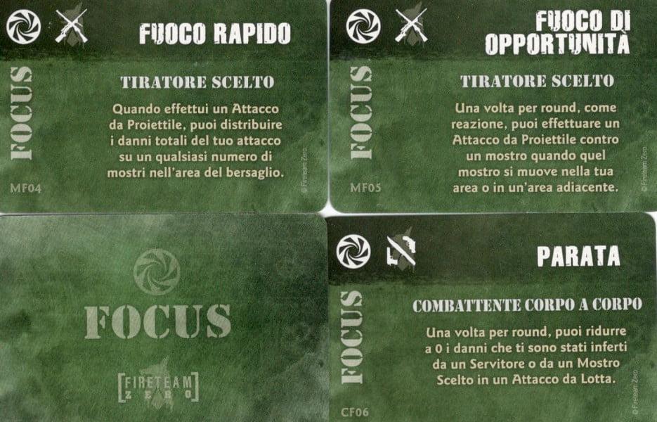 """3 carte """"focus"""" appartenenti a 2 personaggi diversi."""