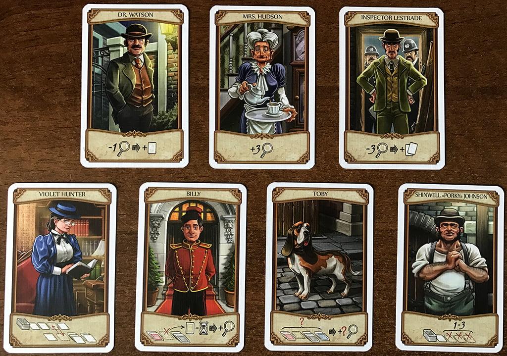 Nella riga in alto trovate i tre personaggi fissi; in quella in basso 4 dei 12 personaggi che possono essere pescati di giorno in giorno.