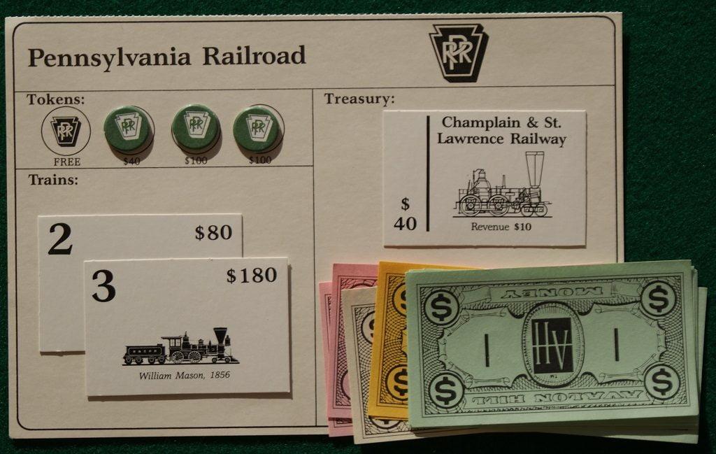 La scheda di una compagnia Ferroviaria durante il gioco di 1830