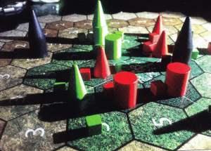 Il prototipo del gioco, con i pezzi di Dominant Species