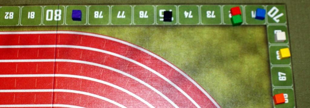 Dettaglio del tracciato segnapunti verso la fine della corsa.